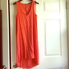 Zara trafaluc orange-red high-low light dress sz S Worn well several times. In good condition. Has fuzz from wash. Zipper back. Very light high-low shift dress. Size small. Zara Dresses High Low