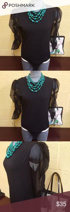 Zara Body Suit in Black Black Zara body suit that snaps ar bottom. Mesh sleeves with adjustable ties. Zara Tops