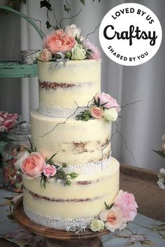 This naked floral wedding cake is almost too beautiful to eat. It's from a maker just like you! Click to ask questions, show the project some love and even find out which Craftsy class they used to make it.