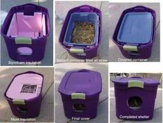 For those of you that may be caring for some feral cats, or have noticed some, here is an easy way to help them through the coming colder months. It's important that the inside be filled with straw and not hay, towels, or fabric. It will actually stay cleaner and warmer with straw. ~tb