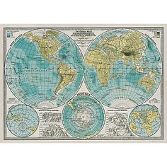 Cavallini Hemisphere Map Wrapping Paper - Paper Source