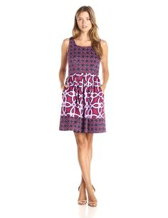 df30c2ff32260 Taylor Dresses Women's Sleeveless Multi Print Fit and Flare Dress, Sangria,  8 at Amazon Women's Clothing store: