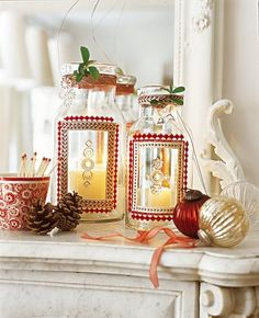 pretty DIY lanterns for Christmas = dress up jars/vases w/a 'frame' of glued ribbon, lace, and buttons/rhinestones (marieclaireidees.com)