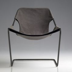Paulistano lounge chair designed by Brazilian architect and Pritzker prize-winner Paulo Mendes da Rocha in 1957; here in taupe grey with phosphatized carbon steel, at Objekto