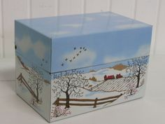Vintage Recipe Box Winter Wonderland Farm by NewLIfeVintageRVs