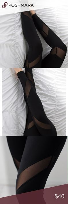 """Downtown Mesh Workout Pants ◽️Workout in style with these sleek and sexy mesh pants! Stretchy + breathable material with a smooth feel. Chic option if you also love athleisure wear for casual days. Stretch waistband is flattering on the tummy. Poly/12% spandex. 9"""" rise unstretched (taken from M).  Waist across: S 12.25"""" --  M 13.25"""" -- L 14.25"""" Brand new. Highly recommend! ▫Pair with my Downtown Hoodie or Varick  Hoodie  ▫Price is firm, no offers ▫️Serious inquiries only  Photos are my own…"""