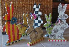 Hand Painted Wood Bunny Rabbit Sculptures in Reversible Designs of Black and White Checks, Textures, Harlequin and More