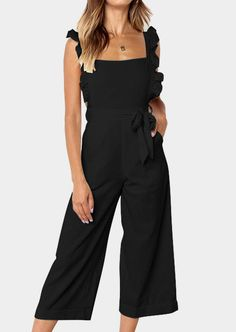 Solid Ruffled Pocket Jumpsuit without Necklace – Black – Fashion Accessories Ruffle Jumpsuit, Black Jumpsuit, Black Romper, Rompers Women, Jumpsuits For Women, Romper Long Pants, Off Shoulder Romper, All Jeans, Black Ruffle