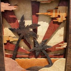 A beached themed piece I made for a friends mom. #beach #wood #woodworking #art #walart #stain #sand #water # Palmtrees