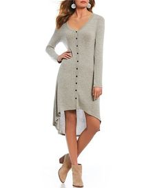 abf74d808d9 Juniors  American Rag Bell-Sleeve Fit   Flare Sweater Dress