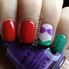 Little Mermaid inspired nails @Pamela Culligan Culligan Culligan Culligan Valenzuela !!! ;)
