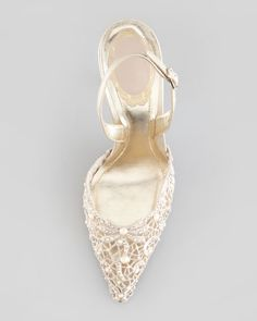 Embroidered Lace Point-Toe Halter Pump