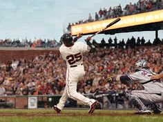 Barry Bonds Swing - Original Limited Edition Baseball Painting by Derek Alvarez - Derek Alvarez Art