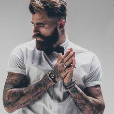 Men with tattoo & Beard ready for office attire #MensFashionBeard