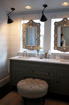 Bathroom Mirror In Front Of Window urban grace interiors - bathrooms - anthropologie brigantine