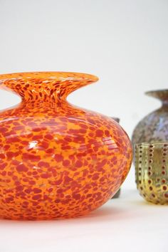 Art Of Glass, Blown Glass Art, Glass Vase, Tangerine Color, Orange Color, Orange Orange, Vases, Pots, Orange House