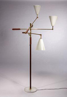 Gino Sarfatti Triennale lamp Designed c. 1951 Enameled metal, marble, chrome-plated steel, leather  Arteluce