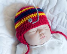 BABY BOY HOCKEY, Crochet Hockey Hat, Red, Blue, Gold, Newborn Knit Hockey, Knit Baby Hockey Hat, Grandmabilt Hockey Baby, Hockey Baby Gift by Grandmabilt on Etsy