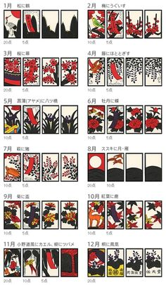 Hanafuda / 花札 : [wikipedia] There are twelve suits, representing months. Each is designated a flower, and each suit has four cards. Typically, each suit will have two normal cards and two special cards. Japanese Textiles, Japanese Patterns, Japanese Design, Make Business Cards, Font Art, Japanese Games, Type Illustration, Travel Cards, Japan Art