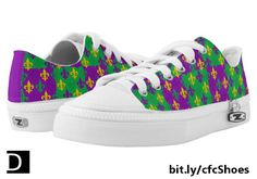 These colorful shoes feature a festive purple, green, and gold fleurs-de-lis Mardi Gras repeating pattern. Available only at Zazzle. https://www.zazzle.com/mardi_gras_fleur_de_lis_pattern_low_top_sneakers-256997126623278330?rf=238083504576446517&tc=20170420_pint_NI #clothing #footwear #MardiGras #StudioDalio