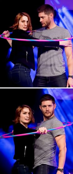 "Felicia Day and Jensen Ackles at Jibcon6 2015 [click for better quality] - I love the tag ""How does he manage to make everything look like sex! even when he's being silly!"""
