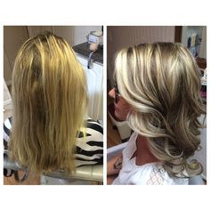 Before and after blonde highlights and lowlights