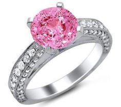 2.18ct Round Pink Sapphire Diamond Engagement Ring 18k White Gold