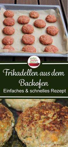 Frikadellen im Backofen - Fleischpflanzerl & Buletten Rezept Meatballs from the oven - quick and low in fat . Hamburger Dishes, Hamburger Meat Recipes, Meatball Recipes, Burger Co, Bulgur Salad, Cutlets Recipes, Pampered Chef, Oven, Brunch