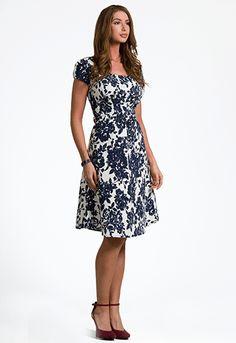 Kelsey Navy Floral A-line Dress - FINAL