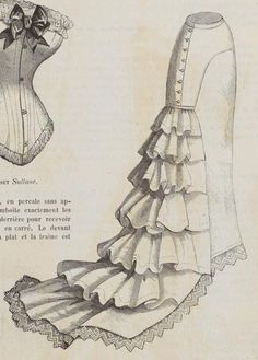 Percale costume petticoat from Le Moniteur de la Mode 1878