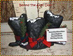 SNOWMAN HAT Bowl Fillers Primitive CHRISTMAS by BeyondTheAtticDoor