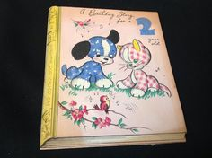 Pop Up Gingham Dog And Calico Cat Birthday Greeting Card C1948 Vintage