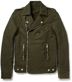 Balmain Washed Cotton-Twill Biker Jacket