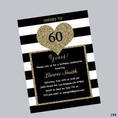60th birthday invitation stripe birthday by Immanueldesign on Etsy