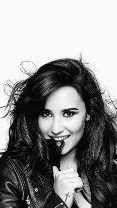 Demi Lovato. Black and white wallpaper for iPhone - @mobile9 #people #celebrities