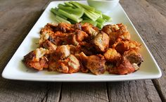 Nutrition Stripped | Buffalo Cauliflower Bites and Ranch Dip | http://nutritionstripped.com  #SuperBowlSunday food
