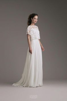 Lisa: Kleid mit besticktem Top aus Tüll Lisa: Dress with an embroidered tulle top Two Piece Wedding Dress, Top Wedding Dresses, Bohemian Wedding Dresses, Boho Wedding Dress, Bridal Dresses, Wedding Gowns, Wedding Crop Top, Summer Wedding, Cocktail Bridesmaid Dresses