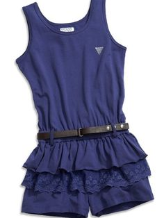 Amazon.com: GUESS Kids Girls Big Girl Belted Romper: Clothing