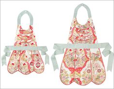These old-fashioned, bright floral Mother and Child Aprons are charming.