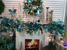 OOOOH a Peacock theme for a Beautiful Christmas Mantel Decor!  Peacock Mantle