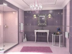 Vintage pink and mauve bathroom theme with glass panelled shower