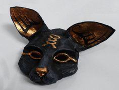 Bast Egyptian Goddess Mask, Cat mask, Egypt, black and gold, wearable, unique mask, paper mache