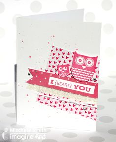 Mischelle Smith creates a cute card using Memento Luxe and Fireworks Craft Spray. pink and white. owls. hearts. glitter.