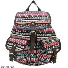 BNWT New Women's Ladies Girls Aztec Print Vintage School Rucksack Backpack