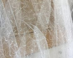 Champagne Gold Tulle Bridal Lace Fabric, Double Scalloped Embroidered Fabric for Wedding, Bridals, Gowns, Ball Gowns Gold Lace Fabric, Gold Tulle, Bridal Lace Fabric, Gold Sequins, Tulle Lace, Vintage Soft, Vintage Style, Embroidery Fabric, Flower Applique