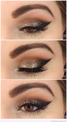 Gold glitter, black for brown eyes