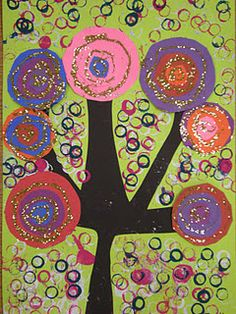 Kandinsky Circle Trees - cut paper, paint, glue.  3rd graders could handle this, maybe even 2nd