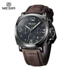 29.00$  Watch here - http://aligyz.shopchina.info/1/go.php?t=32788420135 - Megir Brand Military Luminous Quartz Watches Men Relojes High Quality Chronograph Waterproof Leather Sport Wristwatch Clock  29.00$ #buychinaproducts