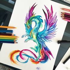 132- Hummingbird Dragon Well, the colors were initially supposed to be based off of a hummingbird...I strayed a bit further from that original thought than intended haha. I'm still just in the process of getting images ready for Momocon (my big convention at the end of the month)! #art #drawing #dragon #fantasy