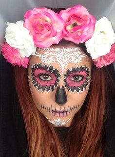Pink white and black! Crown Brush: Sugar Skull Make-up Tutorial by Annabella Lingis
